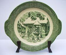 Vintage Royal China Old Curiosity Shop Tabbed Cake Plate Chop Platter Minty