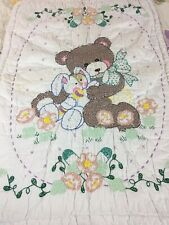 VINTAGE HANDMADE CROSS STITCH & EMBROIDERED BEAR AND BUNNY QUILT