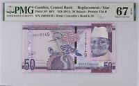 Gambia 50 Dalasis 2015 P 34* Replacement SUPERB GEM UNC PMG 67 EPQ Top Pop