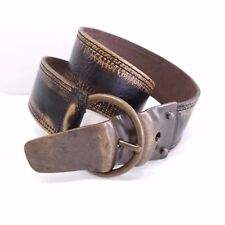 Abaco Paris Black Gold Leather Waist Belt Size Small Made France Unique