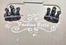 NEW  EARRINGS, CROWNS W 3 POINTS W 3 TINY GEMS IN  METAL, POST STYLE