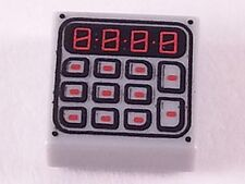 LEGO - Tile, Decorated - Tile 1 x 1 with Keypad Pattern - Light Bluish Gray