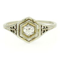 Antique Art Deco Filigree 18k White Gold Old European Diamond Solitaire Ring