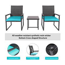3PCS Rattan Wicker Chair Table Furniture Set Patio Garden Outdoor W/Cushions