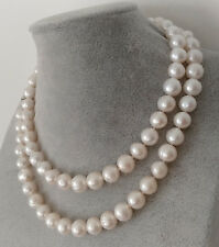 10-11MM NATURAL WHITE FRESHWATER CULTURED PEARL NECKLACE 32 Inch Long