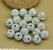 100pcs/lot 10mm White Micro Pave Disco Crystal Shamballa Beads Bracelet Spacer