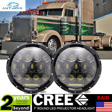 Peterbilt 379 359 Pete Old Style Round Guide LED Headlights LH&RH Driving Lights