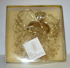 VINTAGE CHRISTMAS LA BONA ANGELICA GOLD WIRE & BEADS FORM ANGEL TREE ORNAMENT I