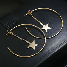 Big Sparkling Shiny Star Round Circle Drop Dangle Earrings Jewelry S
