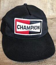 Vintage Champion Spark Plug Snapback Trucker Cap Big Patch Hat Black Mesh USA
