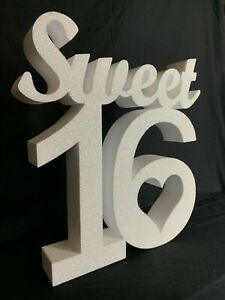 Sweet 16 Sixteen - Birthday Decoration - 60cm tall - Glittered Iridescent