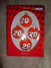 NASCAR 2004 Tony Stewart #20 4 Collectible Orange Glass Ball Christmas Ornaments