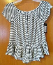 Black & White Striped Cap Sleeve top~Girl's SIZE MEDIUM 7-8~New W/Tags