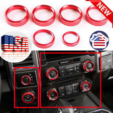 USA-6pcs RED Air Condition Cover Trim For Ford F150-XLT 2016-2017 Switch Knob