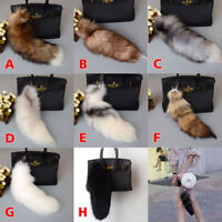 Large Fox Fur Keychain Tassel Bag Tag Handbag Tail Pendant Key Ring Gifts