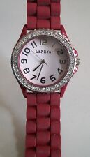 Fashion Jelly Silicone Rhinestone Girls Ladies Womens Quartz Wrist Watch