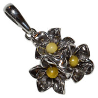 2.65g Authentic Baltic Amber 925 Sterling Silver Pendant Jewelry N-A724C