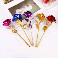 24k gold plated golden rose flowers anniversary valentine's day lovers' gift NTH