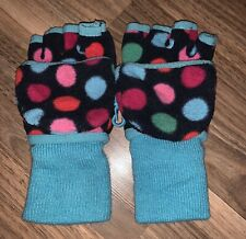 Gap Kids Fleece Blue Polka Dot Mitten Gloves ~ Girls Size S 6-7