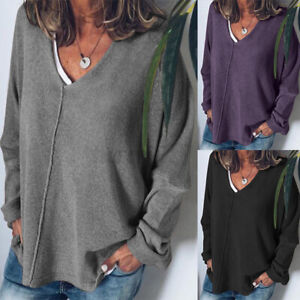 UK Womens V Neck Long Sleeve Knitted Sweater Casual Baggy Tops Pullover Jumper