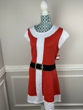 Holiday Time Womens Christmas Dress Mrs Clause Santa Red White Fuzzy XL 16 18