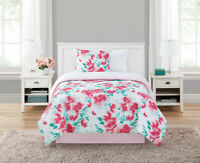 RED FLORAL BEDDING COMFORTER SET 6-Piece White Bed in a Bag Twin XL Size