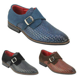 Mens Monk Strap Shoes Weave Emboss Leather Classic Smart Office Slip on Loafers