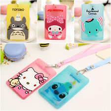 2pcs Cute Silicone Cartoon ID Card Holder Card Case Badge Necklace Neck Straps
