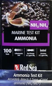 Red Sea Ammonia NH3/NH4 Test Kit - 100 Tests for Marine Fish Coral Reef Aquarium