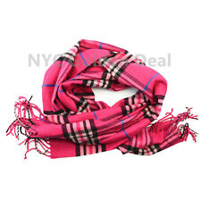 Men's 100% CASHMERE Scarf HOT PINK Checked Plaid Design Soft  MADE IN SCOTLAND