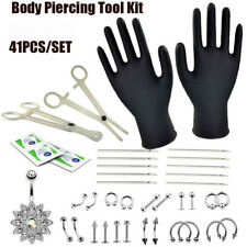 41 Pcs  Professional Body Piercing Tool Kit Ear Nose Navel Nipple Needles Kit