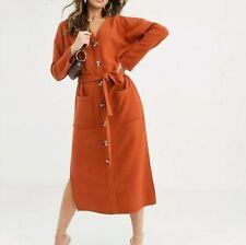 Asos Rust Orange Soft Knit Belted Dress Size 8-10-12