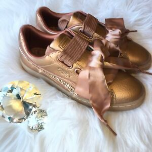 Bling Puma Basket Heart Copper Rose Gold Shoes Bedazzled with Swarovski Crystals