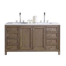 James Martin Chicago 60x24 Double Bathroom Vanity Set in White Washed Walnut