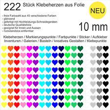 222 Stück Klebeherzen Herzen Folie glänzend 10 mm Aufkleber Herz Klebepunkte NEU