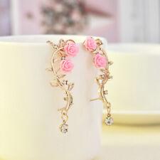 Popular Lady Gold Rose Leaf Flower Crystal Ear Stud Cuff Earring Women Jewelry