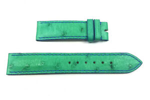 17mm x 16mm Green Ostrich Rolex Band with Blue Stitching