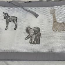 Breathable Baby Mesh Crib Liner Bumper Neutral Color Safari, Giraffe, Elephant
