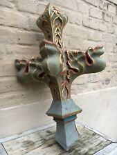 Stunning Large Gothic Finial / Top Altar piece in polychrome carved wood