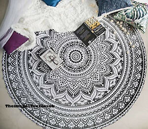 Indian Grey Ombre Round Tapestry Hippie Bohemian Beach Mat ,Center Table Clothes