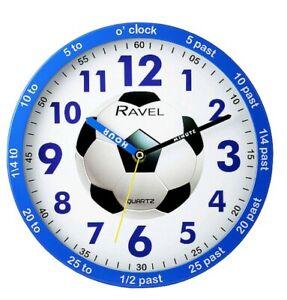 Time teacher Blue Football Bedroom Wall Clock By Ravel Quartz