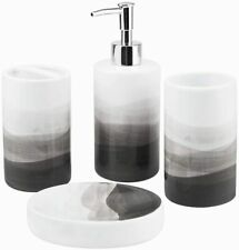 Rich Life 4 Piece Painted Ceramic Bathroom Accessory Set(Gray)