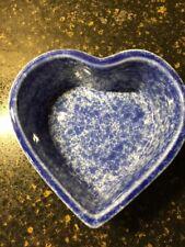 Coche Stoneware Blue Splatter Ware Heart Shaped Dish, Portugal, Baking, Display