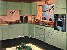 Print. 1950s - 60s. Kitchen & Decor in Green