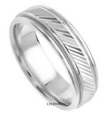14K WHITE GOLD MENS WEDDING BANDS RINGS SHINY MILGRAIN 6MM