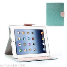 Cover Custodia Flip a Portafoglio Blu per iPad 2 3 4 in TPU - Ecopelle