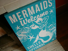 Mermaids Welcome Shells Optional Nautical Ocean Blue Beach Sign Home Decor New