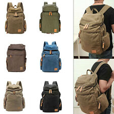 Vintage Canvas Backpack Travel Rucksack Luggage Laptop Camping Hiking Bag Unisex