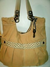 Fossil Very Nice Large Tan with Floral Canvas and Brown Leather Trim Shopper VGC