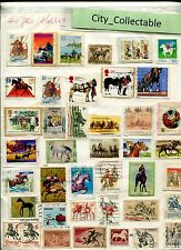 T460 # BULK 40 PCS horses USED STAMPS GB NEW ZEALAND JAPAN ETC